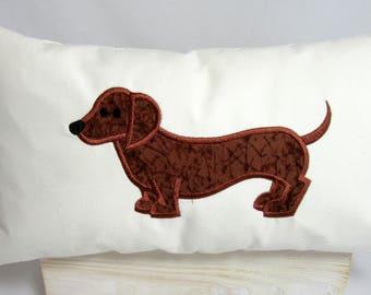 Dachshund Dog Batik Print Machine Embroidered Appliqued Cotton Twill Pillow