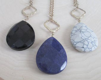 Long Faceted Gemstone Drop Necklaces | Choice of Color | Long Necklace | Everyday Jewelry