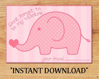 INSTANT DOWNLOAD - Blank Valentine - Elephant - Mini Valentine