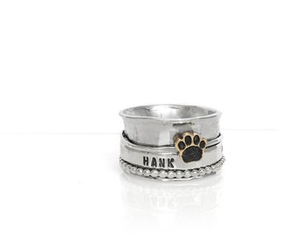 Pet Memorial Spinner Ring in All Sterling Silver