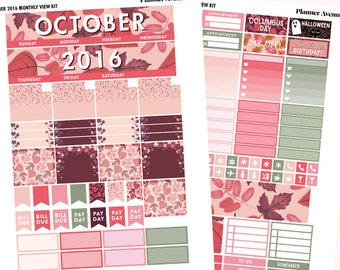 October Monthly Kit, October Monthly View Planner Sticker, Thanksgiving, Sticker kit, Halloween Kit, Printable Sticker