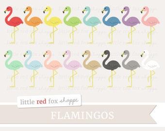 Flamingo Clipart, Summer Clip Art, Pink Flamingo Clipart, Beach Clipart, Tropical Bird Clipart, Digital Graphic Design Small Commercial Use