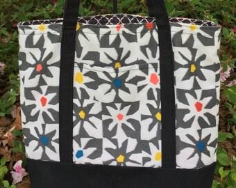 Black and white canvas tote, Black tote bag, Black Marketbag, Black Handbag, Gift for Women, Mother's Day Gift, Teacher Gift, Birthday Gift