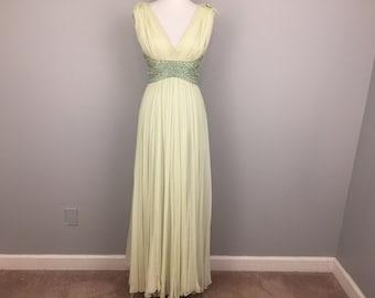 Vintage Formal 70s Designer Dress Chiffon Rhinestone Beaded Gown Light Green Celery Green Dress Small Vintage Clothing 1970s Womens Clothing