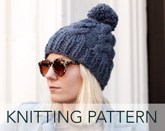 Knitting Pattern // Cable Hat Beanie Pompom Ski Alpine Cap // Chalet Cable Toque PATTERN