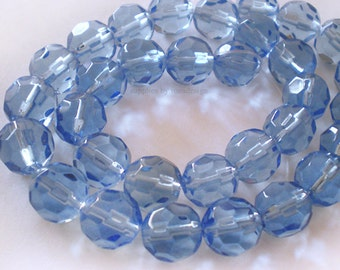 20pcs - 8mm Faceted Blue Glass beads