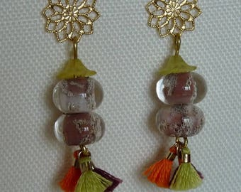"EARRINGS ""Lampwork beads duo"" Golden rosette."