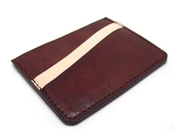 Brown Leather Minimalistic Wallet Small Full Grain Leather Wallet Card Holder Minimal Leather Wallet Thin Leather Wallet Men's Handmade