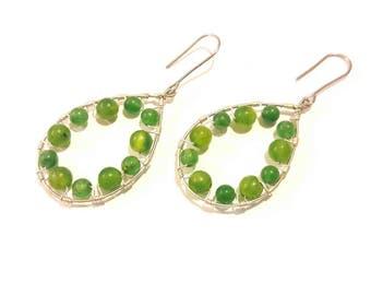Teardrop Hoop Earrings Green Apple Agate Gemstones with Silver Wire Wrap, Boho Style