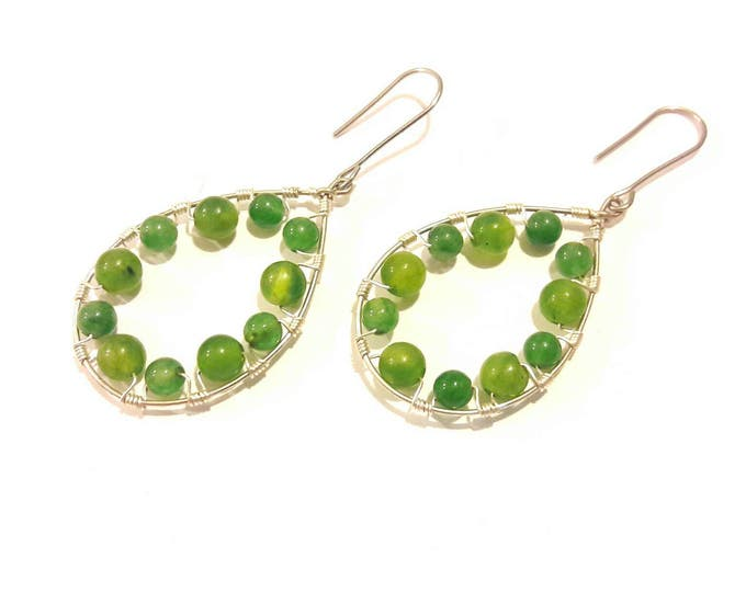 Teardrop Hoop Earrings Green Apple Agate Gemstones with Silver Wire Wrap, Boho Style