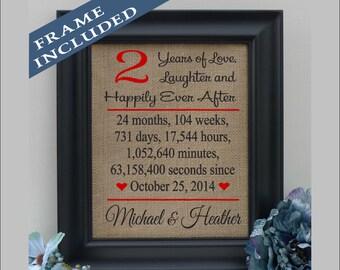 FRAMED 2nd Wedding Anniversary/2nd Anniversary Gift/3 year Anniversary Gift/3rd Anniversary/Family Name/Burlap Print/ Art  ( ann403-2)