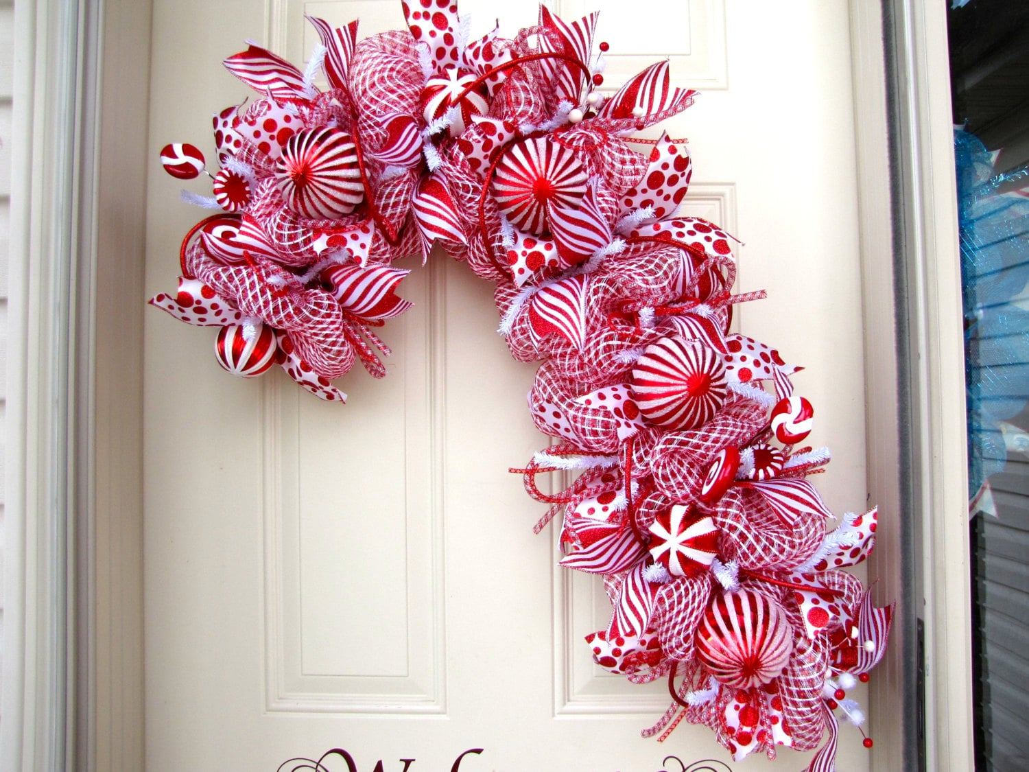 zoom Candy Cane Wreath Christmas Wreath Red