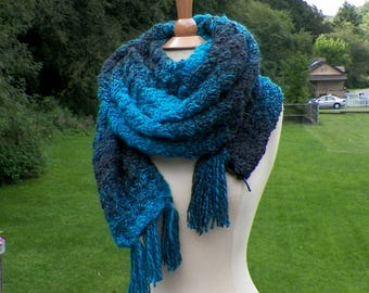 Blue Scarf Super Blanket Giant Wrap Shawl Stole Gray Oversized Extra Long Winter Chunky Cowl Womens