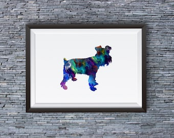 Colorful Schnauzer Poster - Art Print - Dog Illustration  - Wall Art - Home Decor