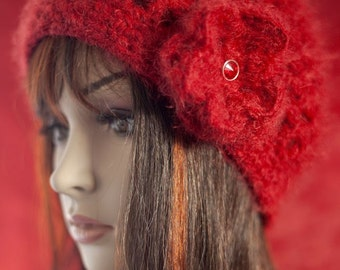 Red Cloche Hat with Flower