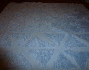 "31"" by 25"" Vintage Chenille Bedspread Piece  Powder Blue"