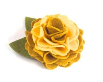 Mustard Yellow Two Tone Felt Dog Collar Flower