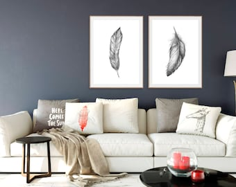 FEATHER PRINT SET of 2, Gray Feathers Prints, Black and white Wall Art, Gift for Men, Living Room Bedroom Wall Art, Pencil Charcoal Drawing