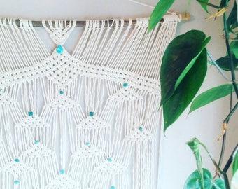 Large Macrame Curtain- Macrame Wall Hanging~ Gift for her~ Boho Wall Decor~ Wedding Decor~ Turquoise Wall Accent- Bohemian Decor- Boho Decor