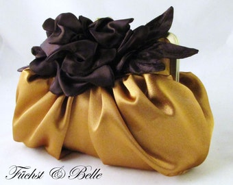 Gold and brown pleated clutch - Gardenia Boutonniere on Pleated satin clutch - Ready to ship