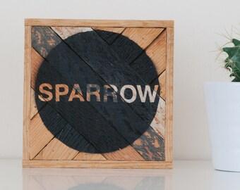 "6""x6"" ""Sparrow"" - Stark & Steel Series #109 || Modern Reclaimed Artworks"