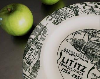 Rare Vintage Commemorative Plate - Lititz, Pennsylvania - Bicentennial - 200th Anniversary - Americana - Green Transferware