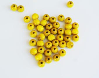 set of 50 6mm yellow wood beads