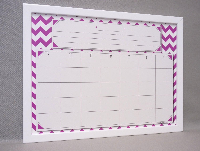 Purple Chevron Whiteboard Wall Calendar Framed Dry Erase