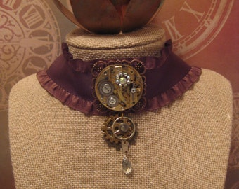 Victorian Steampunk Jewelry/ Brown Pocket Watch Movement Jewelry/ Brown Ribbon Choker Necklace/ Watch Gear Necklace/ Watch Part Jewelry