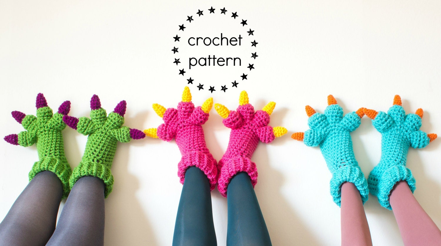 Monster slippers crochet pattern pdf kids womens mens adult zoom dt1010fo