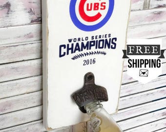 Cubs Sign | Chicago Cubs |  Cubs World Series Sign l Cubs Bottle Opener l Wall Mounted Bottle Opener l