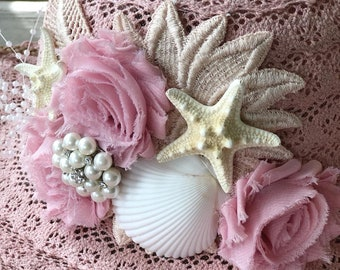 PRETTY in PINK one of a kind embellished vintage sun hat, spf 50 protection, ready to ship