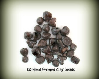 Pottery clay beads, rustic beads, clay bead set,stoneware beads, 30 beads,     # 40