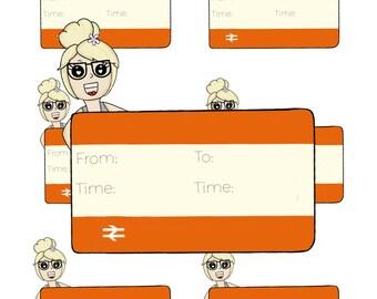 Digital Download - Train Girl stickers - Elle