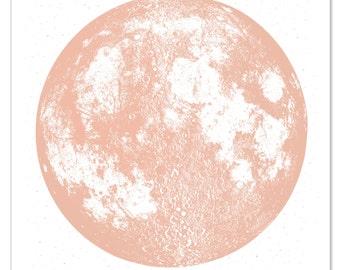 Copper Moon Print, Wall Art, Full Moon large screenprint, metallic gold ink silver bright stellar poster, la luna lunar art, space, stars