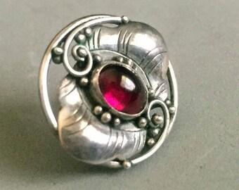 Sterling Silver and Garnet Single Earring, Vintage Earring, Garnet Earring, Single Earring Stud, 925 Earring