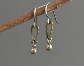 Brass earrings, mixed metal earrings, short drop, small dangle earrings, mixed metal, stirrup link, pinned earrings, steampunk earrings