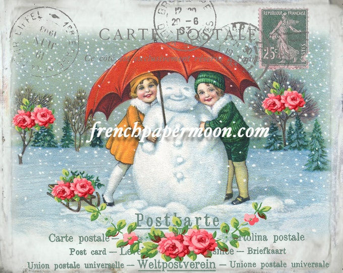 Vintage Snowman Digital Winter Postcard, Shabby Snowman Printable, French Snowman, Christmas Pillow, DIY  Christmas Crafts, Large Image