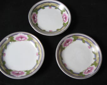Butter Pats lot of Three Vintage Johnson Bros. China Art Nouveau Pnk Flowers Gold Trim