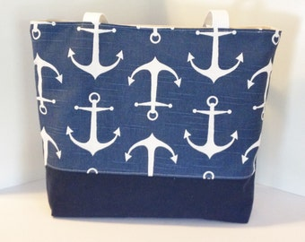 Nautical Tote Beach bag in ANCHORS Navy Blue and White Standard size . great bridesmaid gifts . Monogrammed Available