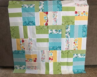 Customizable Country Charm Blue, Green and Yellow Baby Quilt, Small Lap Quilt, Travel Quilt, Stroller/Carseat Quilt