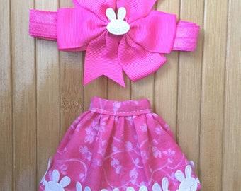 Skirt and Headband Set for Neo Blythe - Pink Bunny