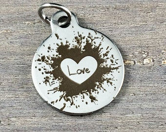 Love Paint Splatter Laser Engraved Stainless Steel Charm, Relationship, Heart, Round, Circle, 18x22mm (L039)