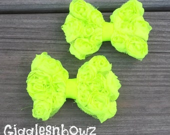 Set of Two NEON BRiGHT GREeN PeTiTE Size Shabby ROSE Mesh BoWS- New Mini Size 3 inch
