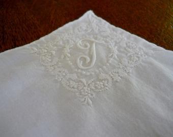 Vintage Hand Embroidered Bridal Hankerchief Bride Hankie White Embroidered Floral Design with Monogram Letter T