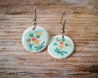 Ceramic dangly earrings with vintage yellow flower image on pastel green background,shabby chic, retro,