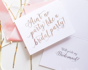 Cute Bridesmaid Proposal Box, Will You Be My Bridesmaid Cards - Ain't No Party Like a Bridal Party - Foil Finish | Charlotte, Bridal Party