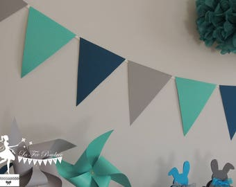 Turquoise 12 Bunting - oil - 155cm grey