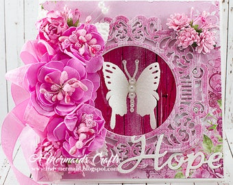 Shabby Chic Hope Breast Cancer Support Greeting Card