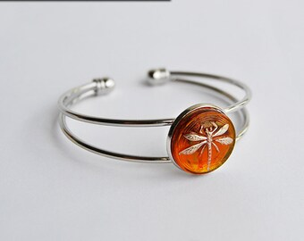 Dragonfly in Amber (Czech Glass) Silver Cuff Bracelet - Claire Fraser Sassenach Jewelry - Outlander inspired